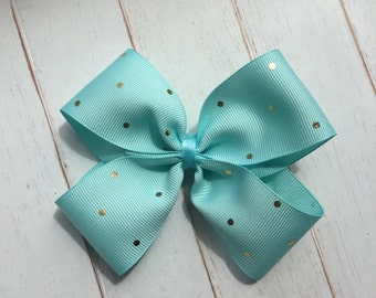 Seafoam green with gold polka dot Boutique Hairbow clip