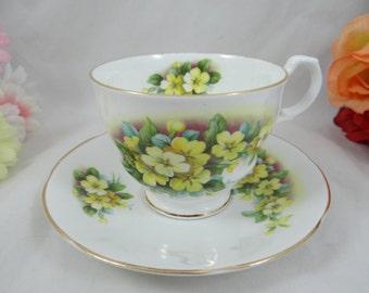 Vintage English Bone China Rosina Queens China Yellow Petunia Teacup and Saucer - English Teacup