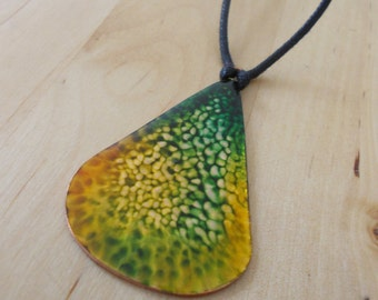 Battered Copper, Ink & Resin Pendant
