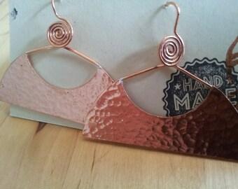 Battered Copper Half Moon Drop Earrings