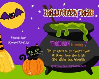 Halloween party PDF or JPG printable PERSONALIZED invitation for birthday party with witch's cauldron, black cat, bat, pumpkin, broom