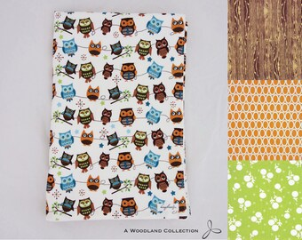 Oversized Stroller Blanket - choice of colors: owls | wood grain | orange ovals | green flowers