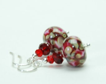 Red Lampwork Earrings with Sterling Silver Accents and Earwires