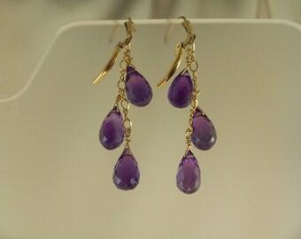 Purple amethyst briolette earrings  gold filled gemstone handmade  item 878