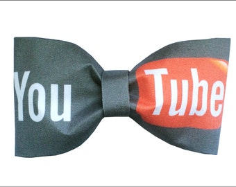 YouTube Inspired Hair Bow or Bow Tie Fabric Internet Bow