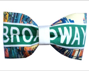 Broadway Sign Inspired Hair Bow or Bow Tie Times Square New York City Musical Theatre Fabric Bow