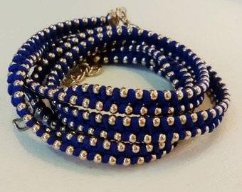Wrap bracelet , Thread woven bracelet  silver with blue wax discs