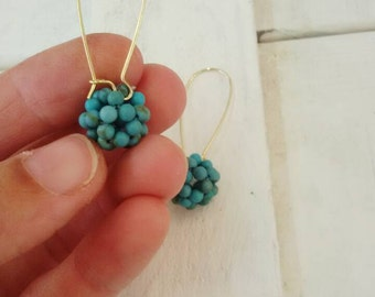 Free shipping turquoise  beaded earrings,   gold dangle earrings ,  beaded ball earrings, beaded work,  turquoise jewelry, Gifts For Her
