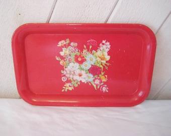 Bright red floral tray, small tray, mid century, decorative tray, metal tin tray