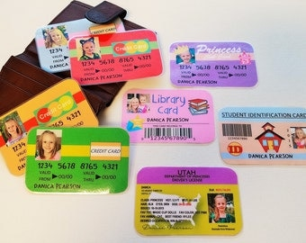 Set A - BOY or GIRL -Pretend Drivers License, Credit Cards, ID Card, & more- Personalize Children Toy - Princess or Superhero -Made To Order
