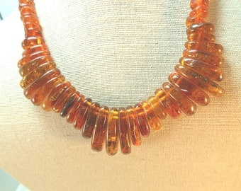 SALE Natural Baltic Amber Vintage Bead Necklace