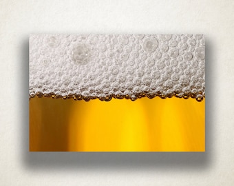 Beer Froth Canvas Art, Beer Wall Art, Alcohol Canvas Print, Beer Froth Close Up Wall Art, Photograph, Canvas Print, Home Art, Wall Art