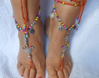 Crochet Barefoot Sandals Beach Wedding  Yoga Shoes Foot Jewelry