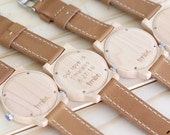 Custom Engraved Wood Watch, Made from Maple Wood and Dark Leather Calfskin Strap - KNTY-L