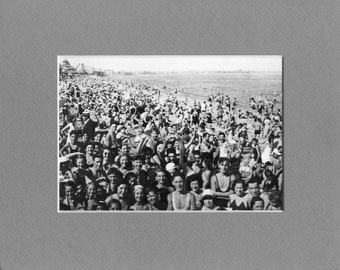 REVERE BEACH Bathers in 1940 - Vintage Matted Photo Art Print - Ready to Frame