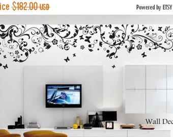 Floral Wall Decal - Large Floral Decal - Vinyl Wall Decal