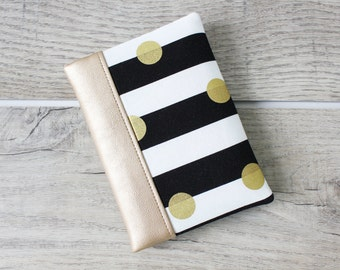Passport Wallet / Travel Wallet with Metallic Gold Dots on White and Black Stripes and Faux Leather