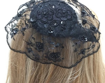 Large Black Lace Head Covering, Black Hair Covering, Black Doily Headpiece