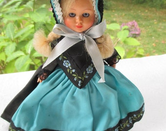 Nordic Souvenir Doll Finland Dressed in Handmade Lovely Blue Apron Dress Blonde Braids