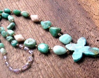 Cross Necklace Green Chrysoprase Sunstone Amethyst Hand Knotted Bohemian Jewelry OOAK,Boho Jewelry