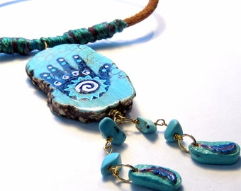 Petroglyph Spiral Hand Leather Necklace Bohemian Jewelry