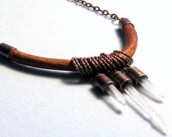 Quartz Crystal Points  Leather Necklace Bohemian Jewelry