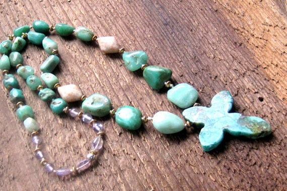 Cross Necklace Green Chrysoprase Sunstone Amethyst Hand Knotted Bohemian Jewelry OOAK