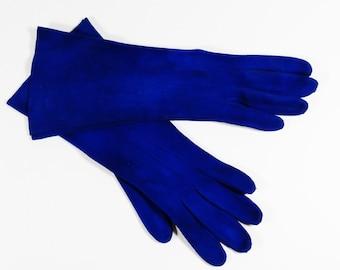 Vintage French Calfskin Suede Midnight Blue Gloves, size 5 3/4