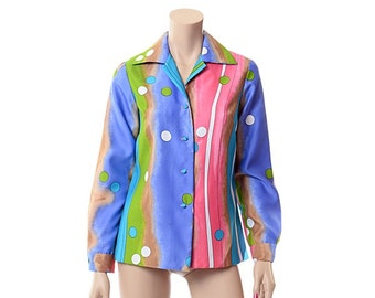 Vintage 70s Mod Tie Dye Graphic Top 1970s Tori Richard  Rainbow Bubble Atomic Print Watercolor Hawaiian Blouse Retro Shirt