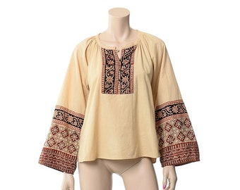 Vintage 70s Star of India Cotton Boho Top 1970s Hippie Festival Blouse Ethnic Indian Peasant Gypsy Shirt / S