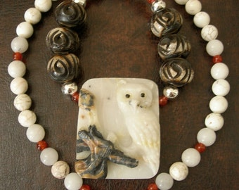 Multi Chakra Owl Totem, White Carved Amazonite Owl, Brown Bone, Agate, Magnesite, Orange Carnelian Gemstone Sterling Silver Healing Necklace