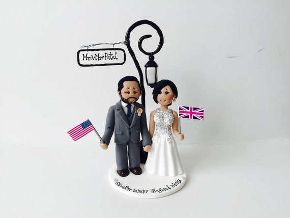 bespoke wedding cake toppers london items similar to and groom lamp post 11278