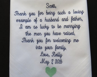 Personalized Wedding Handkerchief for your Father........Free Gift Box........Scroll design
