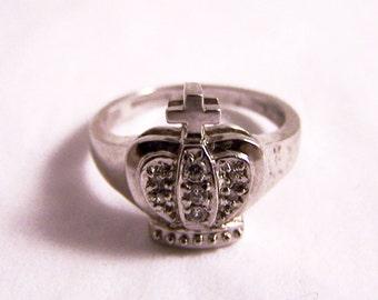 Vintage Paste Silver Ring, Crown Ring, Silver Ring, Paste Ring, Silver Ring Paste,  G 1/2 UK, 3.75 US