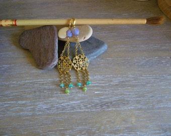 Extra long party earrings Long chandelier golden earrings