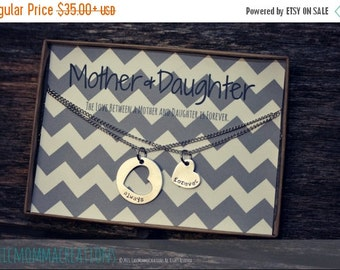 25% OFF Hand Stamped Necklace, Personalized Jewelry, Mother Daughter Necklace, Heart Necklace Set, Mothers Day