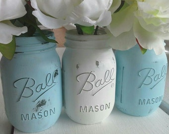 Baby Shower Blue Centerpiece Painted Mason Jar Vases(3 vases)