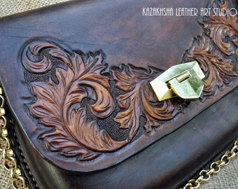 "SALE End of the Season - Clutch ""Helga"" - hand bag wet molded and formed with carving and tooling"