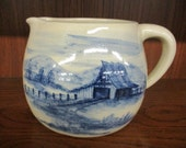 Beautiful Paul Storie Pottery Cobalt Country Barn Pitcher Marshall, Texas