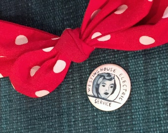 Child's Rosie the Riveter head wrap in red polka dot and Rosie Pin for Halloween Costume, child size