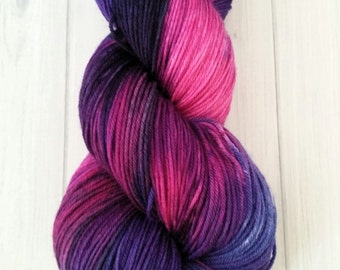"Hand dyed ""Andrea's Midnight Kiss"" superwash merino sock yarn"