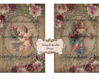 Digital Scrapbook Paper, Vintage Pink Roses and Angels, Victorian Cherub Angel Paper, Scrapbook Supplies.  No. 602