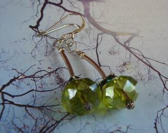Green Crystals sterling silver earrings