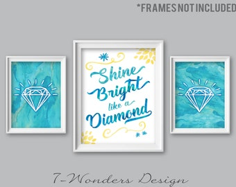 Girls Tweens, Teens bedroom Watercolor Shine Bright Like a Diamond Wall Art Prints Set of (3) 5x7, 8x 10 or 11x14 // Blue Yellow, Unframed