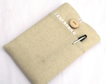 Kobo Aura 2016 Sleeve, Kobo Glo HD Case, Kobo Touch, Kobo Foam Padded Case with Pockets-Superior Shock Absorbent Padding - Linen / Handmade