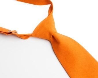 Orange Neck Tie With Adjustable Strap