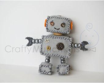 Cute Grey Plush Felt Robot