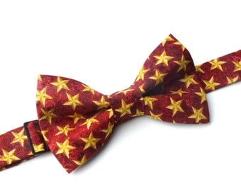 Bow Tie - Red with Gold Stars Bowtie