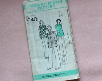 60s Sewing pattern. Jacket with big collar. Size 14. Sunday people pattern. Vintage sewing pattern