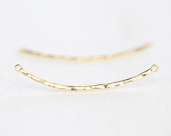 Vermeil Gold Skinny Curved Hammered Connector Bar - 18k gold over 925 silver thin bar, lightly hammered, 2 hole, bow, arc, round spacer link